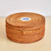 Handmade Rattan Woven Pu-erh Tea Cake Storage Box Canister Kitchen Container Medium 22x22x10cm