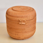 Handmade Rattan Woven Pu-erh Tea Cake Storage Box Canister Kitchen Container Extra Large 23x23x23cm