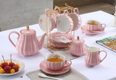 Porcelain Gold Rim Coffee Tea Set Teapot Sugar Bowl Creamer Cups Infuser Holder Pink
