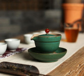Ceramic Sea Green Gongfu Tea Rubby Lid Gaiwan with Filter & Coaster 150ml 5oz