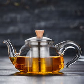Clear Glass Teapot with Stainless Steel Infuser & Wood knob Lid XH-551 550ml