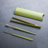 Handmade Green Bamboo Cha Dao 4 Pcs Gongfu Tea Ceremony Utensils Tools Set