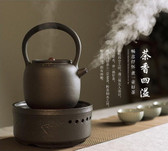 Black Ceramic Loop Handle Tea Water Kettle & 220V Electric Stove for Gongfu Tea Stove Only