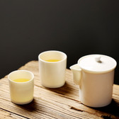 White Porcelain Gaiwan & Teacups Travel Tea Set China Teaware 3 Pcs