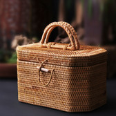 Handmade Rattan Woven Tea Storage Canister Kitche Food Container Picnic Basket
