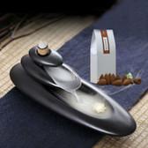 Rockery-Pile Ceramic Back-flow Stream Smoke Incense Burner & 60 Pcs Cones Set