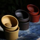 Yixing Zisha Clay Chinese Gongfu Tea Strainer & Stand Set with Ball Filter Yellow
