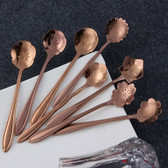 Stainless Steel Flower Shaped Tea Coffee Ice Cream Cocktail Spoon Set of 8 Rose Gold
