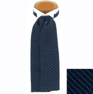 Formal 100% Woven Silk Ascot - Dark Blue Tone with White
