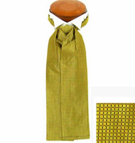Formal 100% Woven Silk Ascot - Gold-tone and Black