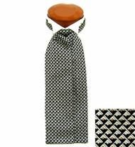 Formal 100% Woven Silk Ascot - Black, Tan and Cream