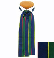 Formal 100% Woven Silk Ascot - Blue, Green, Yellow and Red