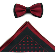 Antonio Ricci Two-Tone Polka Dot Hankie/Bow Tie Set - Black & Burgundy