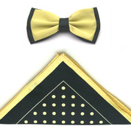 Antonio Ricci Two-Tone Polka Dot Hankie/Bow Tie Set - Black & Yellow