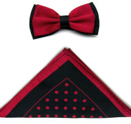 Antonio Ricci Two-Tone Polka Dot Hankie/Bow Tie Set - Black & Ruby Red