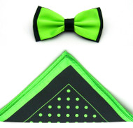 Antonio Ricci Two-Tone Polka Dot Hankie/Bow Tie Set - Black & Neon Green