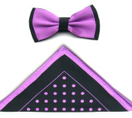 Antonio Ricci Two-Tone Polka Dot Hankie/Bow Tie Set - Black & Lavender