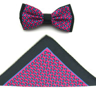 Antonio Ricci Two-Tone Small Paisley Hankie/Bow Tie Set - Hot Pink & Black