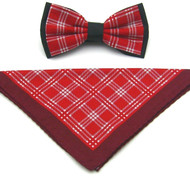 Antonio Ricci Plaid Hankie/Bow Tie Set - Red & Burgundy