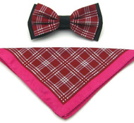 Antonio Ricci Plaid Hankie/Bow Tie Set - Fuchsia & Brick Red