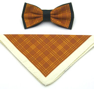 Antonio Ricci Plaid Hankie/Bow Tie Set - Copper & Cream