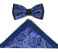Antonio Ricci Fancy Paisley Two-Tone Bow Tie & Pocket Square - Navy & Blue