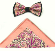 Antonio Ricci Fancy Paisley Two-Tone Bow Tie & Pocket Square - Peach