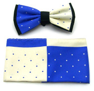 Antonio Ricci Fancy Two-Tone Bow Tie & Pocket Square - Blue & Ivory