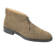 Zelli 100% Genuine Suede Ostrich Quill Ankle Tie Chukka Boot