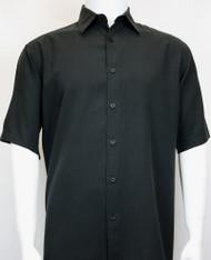 Sangi Modal Blend Short Sleeve Camp Shirt - Black