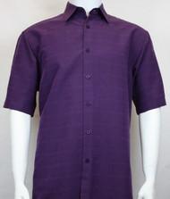 Sangi Modal Blend Short Sleeve Camp Shirt - Purple Plaid Weave