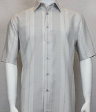 Sangi Modal Blend Short Sleeve Camp Shirt - Grey Tonal Wide Stripe