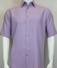 Sangi Modal Blend Short Sleeve Camp Shirt - Light Purple Geometric Weave