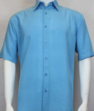 Sangi Modal Blend Short Sleeve Camp Shirt - Light Blue Geometric Weave
