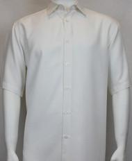 Sangi Modal Blend Short Sleeve Camp Shirt - Off White Micro Stripe Design