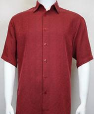 Sangi Modal Blend Short Sleeve Camp Shirt - Red Basketweave Design