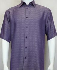 Sangi Modal Blend Short Sleeve Camp Shirt - Purple Basketweave Design