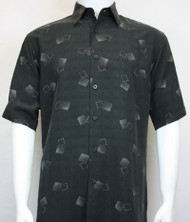 Sangi Modal Blend Short Sleeve Camp Shirt - Grey Floating Square Design
