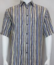Sangi Modal Blend Short Sleeve Camp Shirt - Blue Wavy Stripe Design