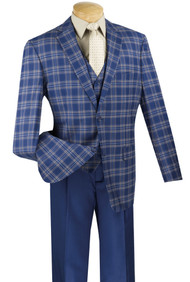 Vinci Plaid 2-Button Blue Plaid Jacket & Vest with Pleated Slacks Suit