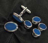 Blue Oval Design Cufflinks & Formal Studs