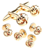 Gold Love Knot Cufflinks & Formal Studs