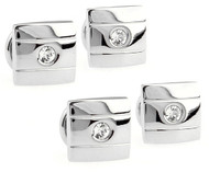 4 Crystal Square Silver Formal Studs