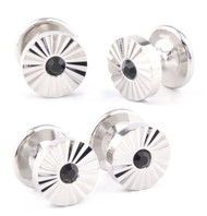 4 Crystal Etched Round Formal Studs
