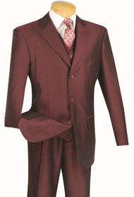 Vinci 3-Button with Vest and Pleated Slacks Burgundy Sharkskin Suit