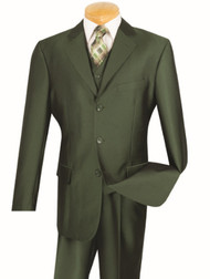 Vinci 3-Button with Vest and Pleated Slacks Olive Sharkskin Suit