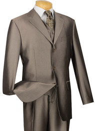 Vinci 3-Button with Vest and Pleated Slacks Mocha Sharkskin Suit