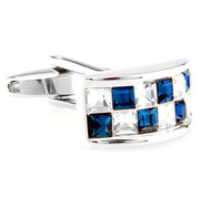 Blue and Diamond Crystal Arch Design Cufflinks (V-CF-C65440CLBL-S)