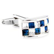 Blue and Diamond Crystal Arch Design Cufflinks (V-CF-C65440CLBL-S)