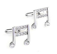Clear Swarovski® Crystal Musical Note Cufflinks (V-CF-C502C-S)